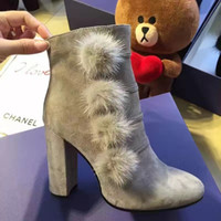 Wholesale Sexy Black Booties Shoes - NEW Coming 2016 Winter Fashion Sexy Women Round Toe Shoes Brand Suede Leather Booties Marten Hair Square Heel Boots Free Shipping