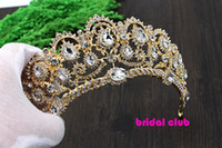Wholesale air accessories online Luxurious Gold Plated Crystal Vintage Peacock Bridal Hair Accessories For Wedding Quinceanera Tiara Crown Pageant