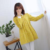 al por mayor la camisa del punto amarillo-2017 Primavera Primavera Otoño Estilo Mujeres Blusa Girar abajo Collar Polka Dot manga larga Mujer Blusas amarillo azul algodón camisa de lino