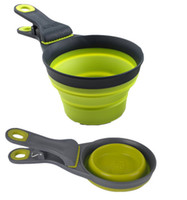 Wholesale Cup Dog Food Scooper Collapsible Klipscoop for Pets Popware ml Capacity Gray Green pet dogs Folding bowl spoon