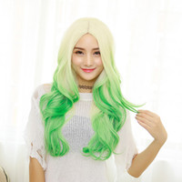 Wholesale The new high temperature silk material stained gradient color long hot girls girls temperament COS professional hair festival wig