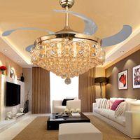 Wholesale 52 inch LED Crystal chandelier fan lights living room modern fan with remote control ventilateur plafonnier ventilador de techo