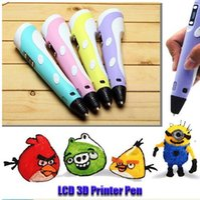 Cheap new Graffiti Creative DIY 3d Drawing Pen with LCD Screen DIY 3D Printer Support Colorful PLA Filaments Supplies DHL DIY 3d Drawing Pen