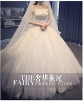 Wholesale New wedding dress long trailing lace simple flat shouders long sleeve Luxury Elegant and generous Beautiful