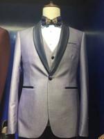2017 Nouveau Real Image Slim Fit Grey Suits EN stock Groom Tuxedos best man Costume de mariée pour hommes Smoking (Jacket + Pants + vest)
