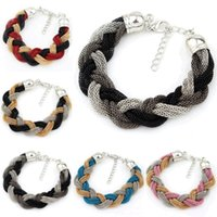 beautiful crossover - Elegant Temperament Beautiful Concise Knitting Compile Package Cross Bracelets Wrap Crossover Twist Braid Bracelet Women