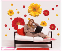 Wholesale Daisy Flower Living Room Vinyl D Wall Stickers Window Decor Bedroom Wall Decals Sticker To The Kitchen On The Door