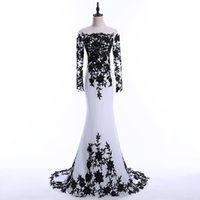 Wholesale O Neck New Long Mermaid Evening Dresses Long Sleeve Satin vestido de festa Formal Evening Gowns Dress Party
