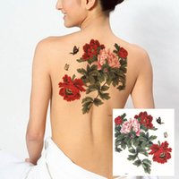 Wholesale Fake Back Tattoos Large Peony Flower Eagle Dragon Skull Pattern Temporary Tattoo Stickers Waterproof Body Paint Tattoo Sexy