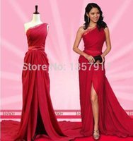 Wholesale Evening Dresses Red One Shoulder Lace collar Dress Front Slite With Sash Red Carpet Chiffon Long Prom Dress