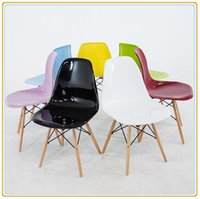 Wholesale PP Home Chairs Home Furniture Office Charis Computer Chairs Leisure Chairs with Colorful PP Seats and Beech Wooden Legs