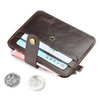 Wholesale front pocket men purse wallet genuine leather Multi functional card holder money clip mens wallet