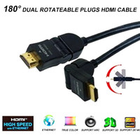 Cable arc hdmi - 6FT M HIGH SPEED HDMI CABLE SUPPORT D ARC DEGREE DUAL ROTATABLE MALE TO MALE PLUGS FOR HDTV DVD XBOX PS3 PROJECTOR