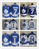 Wholesale Toronto Maple Leafs Men s Johnny Bower tim horton mats sundin DAVE KEON Vintage Throwback Ice Hockey Jerseys