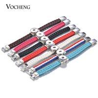 VOCHENG NOOSA Mezcla colores jengibre Snap encantos pulsera de cuero trenzado colorido para 18 mm botón imán cierre NN-589