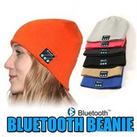 Wholesale NEW Arrival Soft Warm Beanie Skull Bluetooth Music Hat Cap with Stereo Headphone Headset Wireless Bluetooth Mic Hands free Speaker