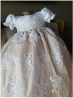 baptism robe - 2017 New Baby Girls Infant Baptism Gown Christening Dress Robe Flower Lace Applique Size month WITH BONNET