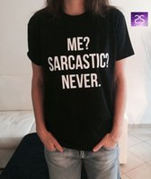 Wholesale New Women Tshirt Me Sarcastic Never Letter Print Cotton Funny Casual Hipster Shirt For Lady Black Top Tees TZ203