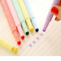 Wholesale DIY Cute Kawaii Highlither Pen With Stamps Colorful Plastic Markers For Kids Children Gift School Supplies
