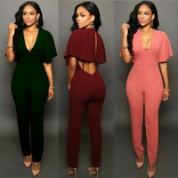 Wholesale 3colors Sexy Long women Rompers and Jumpsuits playsuits backless short sleeve zipper Casual summer new freeshipping