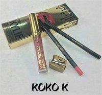 Wholesale 2017 in KYLIE JENNER LIP KIT in birthday edtion Kylie Liquid Makeup Lip Gloss IN1 Matte Lip Kits Eyeliner Pencil Kyliner