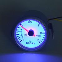 Wholesale New High Quality White Shell mm Blue LED Car Turbo pressure Bar Turbo Boost Gauge Meter Vacuum Press Gauge