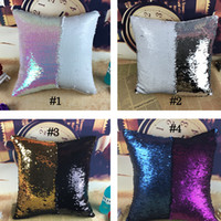 Wholesale 10 Color New Arrival Mermaid Sequin Pillow Case Magical Color Changing Throw Pillow Cover Cushion Cover Decorative Pillowcase