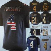 Wholesale 2017 gold color number Derek Carr Khalil Mack Dak Prescott Ezekiel Elliott men Limited football Rugby Jerseys Anthracite Salute