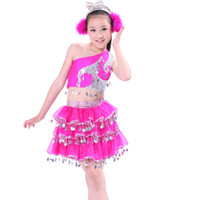 beautiful girl free - Hot sale Girl sequins Latin dance dress performance skirt jazz dance princess skirt beautiful children s clothing free shopping