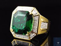 asscher cut emerald - Yellow Gold Finish Royal Asscher Cut Emerald Real Diamonds Statement Ring ct