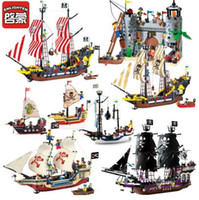 Wholesale Enlighten Pirates Of The Caribbean Brick Bounty Pirate Ship Building Blocks Gifts for kids Block Puzzle Toys Gifts