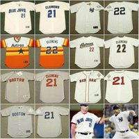 achat en gros de astros reds-Hommes Boston Red Sox 1987 # 21 Roger Clemens Jersey Houston Astros 2004 New York Yankees 2003 Cooperstown Throwback Baseball Jerseys