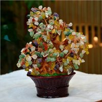 basket tree gifts - Natural purple crystal powder crystal flower basket tree resin handicraft home decoration furnishing articles