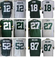 Wholesale 12 Aaron Rodgers Farve Jersey Green White Randall Cobb Jordy Nelson Clay Matthews Jerseys Uniforms Eddie Lacy Clinton Dix