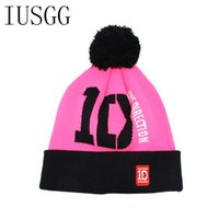 adult directions - Unisex D one Direction Letter Hats Gorros Bonnets Winter Cap Skullies Beanie Female Hihop Knitted Hat Toucas With Pompom Ball