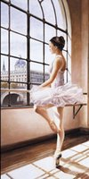 One Panel ballerina oil painting - Framed BALLERINA Pure Handpainted Portrait Art Oil Painting On Quality Canvas Wall Decor Multi Sizes P0051