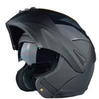 Nuevo con la visera de sol interior flip encima de la seguridad del casco de la motocicleta lente de la lente del doble que compite con el capacete aprobado casco de los motos