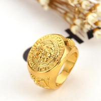 al por mayor nuevo oro de la manera plateó-Nueva Moda Trendsetter 24K oro plateado Hip Hop Lion dedo de la cabeza anillos de alta calidad de joyería de lujo para los hombres