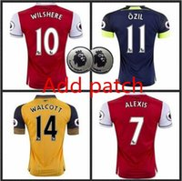 Wholesale 2016 best Thai Quality mens Arsenals Soccer Jerseys shirt OZIL WILSHERE RAMSEY ALEXIS jerseys football shirts
