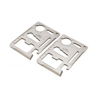 Wholesale 1000PCS Stainless Steel Multi Credit Card Tools Outdoor Survival Camping Portable Pocket Wallet Tool Knife With Leather Package
