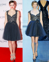 Wholesale Navy Blue Emma Watson Beaded Short Celebrity Prom Dresses Cap Sleeves Backless D Floral Appliques Sweetheart A Line Pleated Tulle Skirt