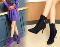 Discount pleat fabric - Wholesale New Arrival Hot Sale Specials Super Fashion Influx Martin Pointed Buckle Knight Cowgirl Large Size Heels Ankle Boots EU34-39