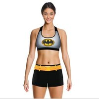 Wholesale batman womens clothing Camisoles shockproof Tanks Shirts Running Singlet Vest Square shorts Gym Sports Tank Digital PrintYoga Outfits