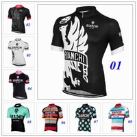 bianchi size - 9 Style Bianchi Cycling Jerseys Top Short Sleeves Cycling Tops Body Fit Compressed Bike Wear Size XS XL Summer Style For Men