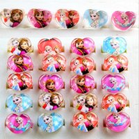 Wholesale Mix New Party Gift Bag Fit Heart Frozen Kid Resin Rings Children Lovely Present