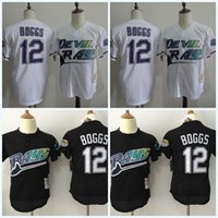 Men bay throwback jersey - 2017 Cheap Tampa Bay Rays Mens Jerseys Wade Boggs Black White Baseball Jerseys Cool Base Elite Stitched Throwback Cooperstown Jersey