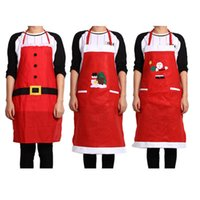 Wholesale Brand New And High Quality Styles Christmas Kitchen Bar Creative Red Christmas Applique Aprons