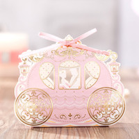 Wholesale Shiny Pink Gold Love Carriage Wedding Gift Candy Favor Boxes CB6073