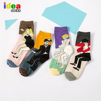 acrylic literature - Korean Autumn And Winter Literature And Art RETRO Oil Painting Funny Humorous Chaplin Couple Men Women Socks Cotton Chaussette