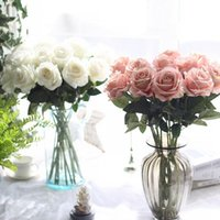 Wholesale Simulation flower wedding supplies rose wedding flower flannelette decorative crafts Home Furnishing plant simulation